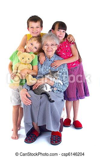 Grandmother and grandchildren - csp6146204