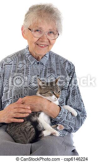Elderly woman with cat - csp6146224