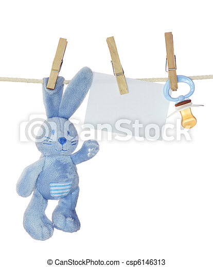 Blue baby goods and blank note - csp6146313