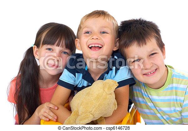 feliz, crianças, brinquedos - csp6146728