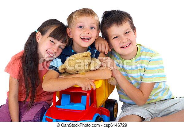 glücklich, Kinder, Spielzeuge - csp6146729