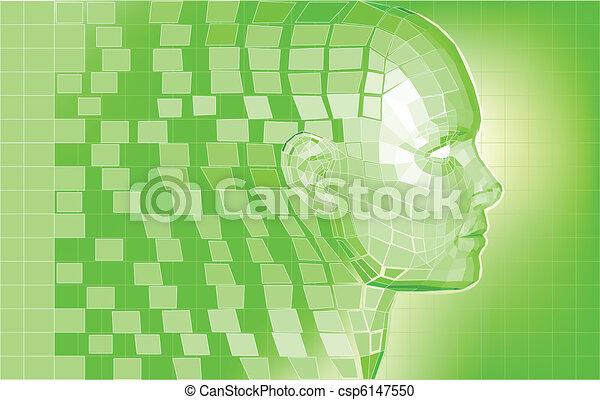 Futuristic avatar  polygon mesh background - csp6147550