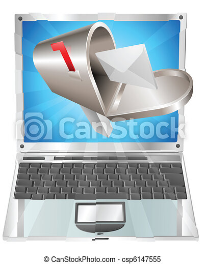 Letter mailbox flying out of laptop screen concept - csp6147555