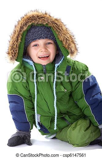 Happy boy in winter clothing - csp6147561
