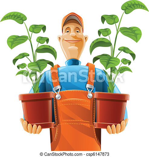 gardener with plant in flowerpot - csp6147873