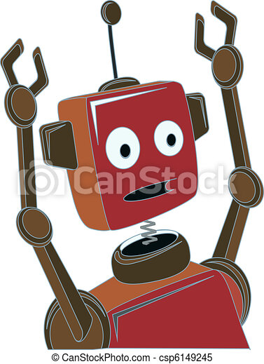 Cartoon Robot surprised expression - csp6149245