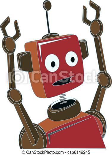 Cartoon Robot surprised expression  - csp6149245