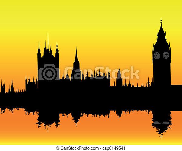 silhouette of the London landscape - csp6149541