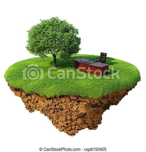 Lawn with tree, office table and chair on the little fine island / planet. A piece of land in the air. Detailed ground in the base. Concept of success in business, innovation, refresh. - csp6150425