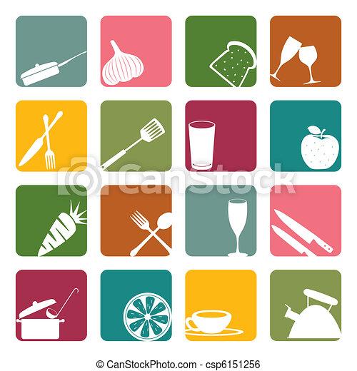 Food square icons set - csp6151256