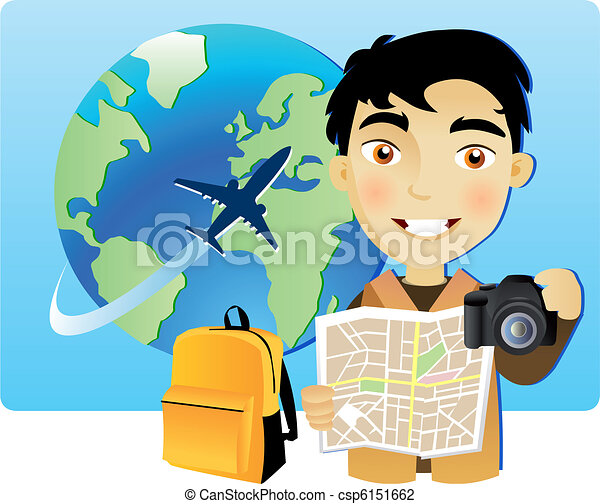 Young man travelling around the world - csp6151662
