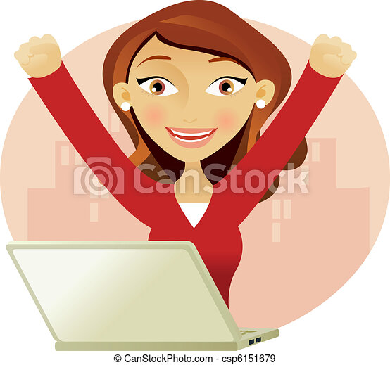Successful woman on a laptop  - csp6151679