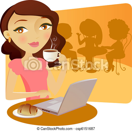 Pretty young girl taking coffe - csp6151687