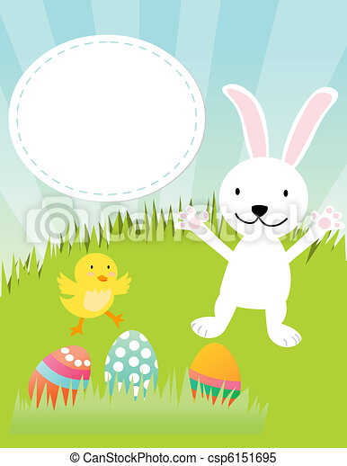 Easter bunny, chicken and eggs - csp6151695