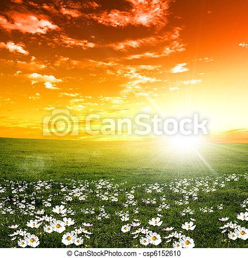 Coucher soleil, paysage,  nature - csp6152610