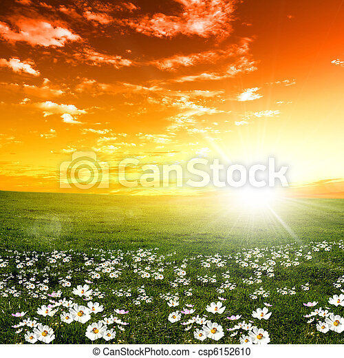 Sonnenuntergang, landschaftsbild, Natur - csp6152610