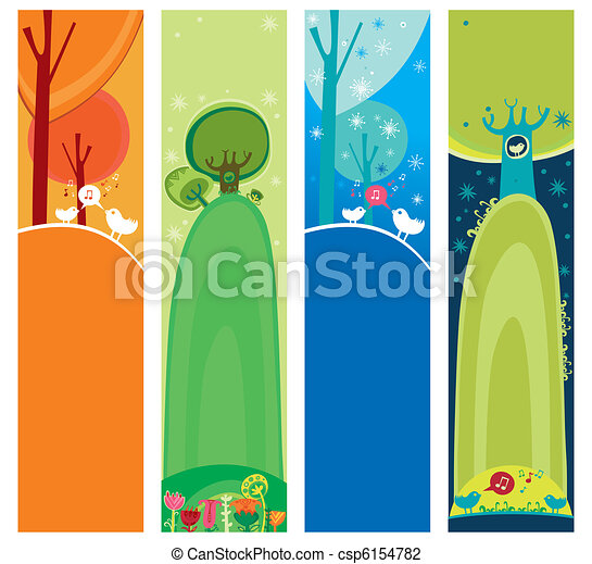 Seasonal, natural banners - csp6154782