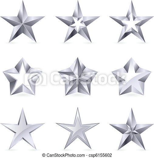 Different types and forms of silver stars - csp6155602