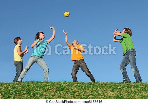 active kids playing ball at summer camp - csp6155616