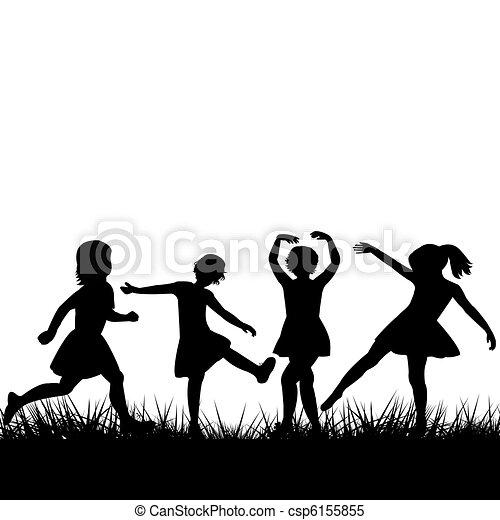 Black children silhouettes playing - csp6155855