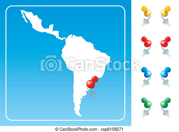Latin America map illustration - csp6158271