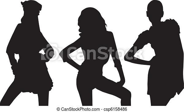 Silhouette fashion girls - csp6158486