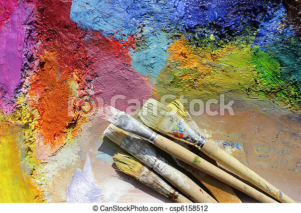oil paints palette and paint brushes - csp6158512