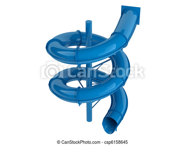 Stock Illustrations of Blue waterslide isolated on white ...