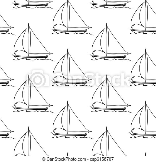 seamless wallpaper with a sailboat - csp6158707