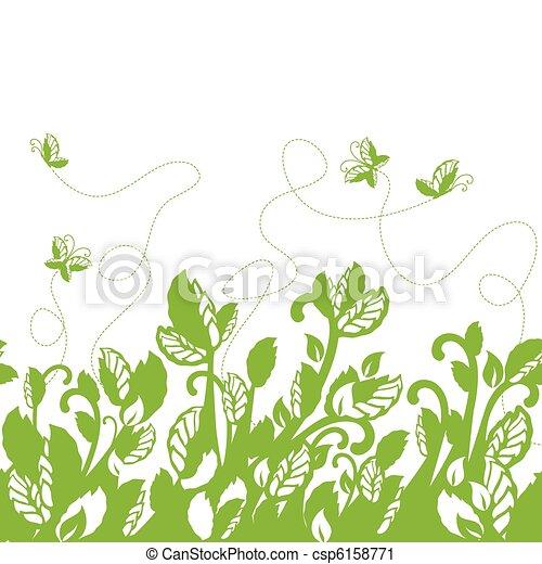 Seamless green foliage border - csp6158771
