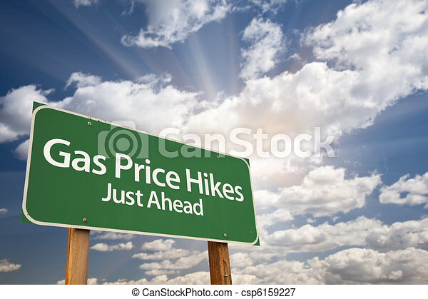 Gas Price Hikes Green Road Sign and Clouds - csp6159227