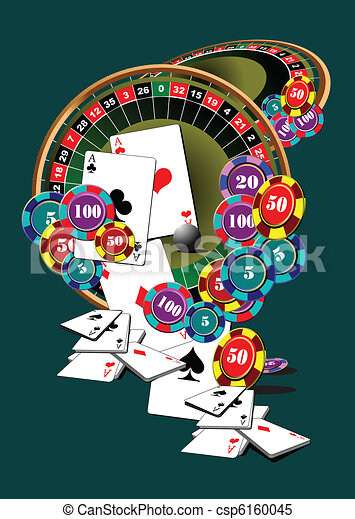 Clipart Vector Of Roulette Table And Casino Elements