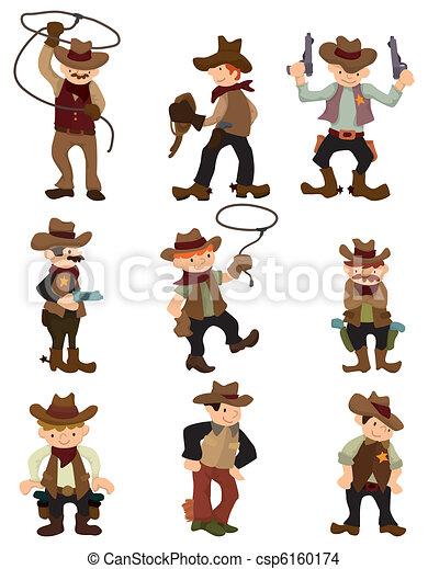 cartoon cowboy icon - csp6160174