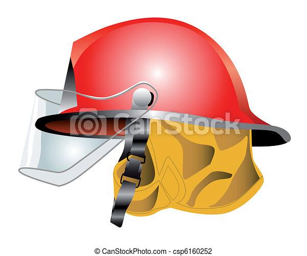 Vector Illustration of red fire helmet on white background ...