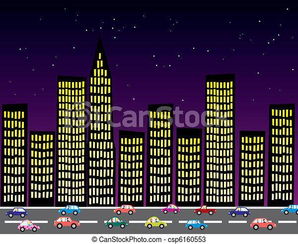 vector city at night - csp6160553