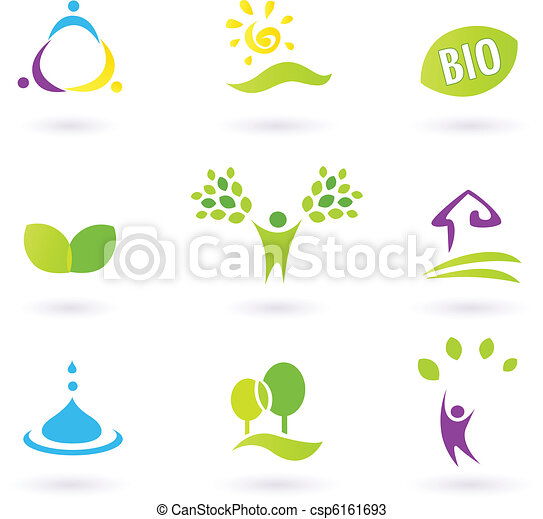 BIO icons inspired by people, farm life and nature. Vector illustration.  - csp6161693
