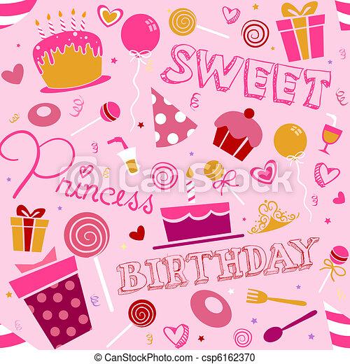 Stock de Ilustration de cumpleaños, niña, Plano de fondo, diseño ...