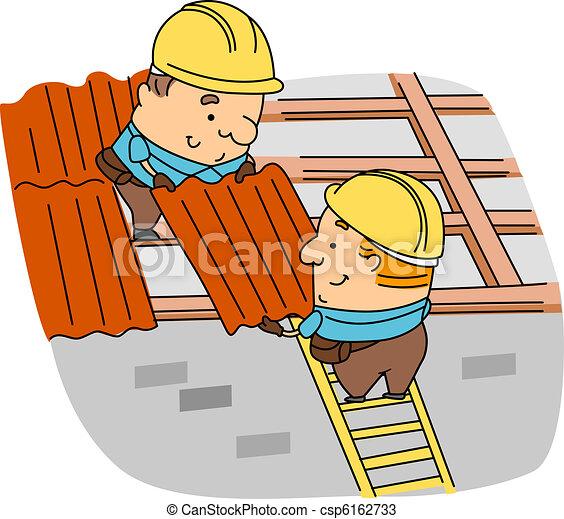 zeichnungen von dachdecker abbildung von dachdecker an arbeit csp6162733 suchen sie. Black Bedroom Furniture Sets. Home Design Ideas