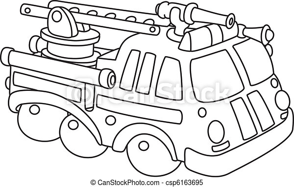 fire engine outlined  - csp6163695