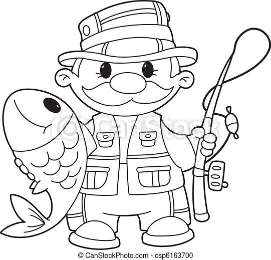 Vector clip art de contorneado pescador ilustraci n de un pescador csp6163700 buscar - Coloriage pecheur ...