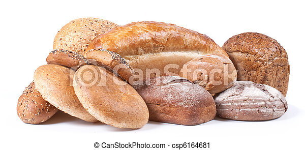 Bread and bakery on white background - csp6164681