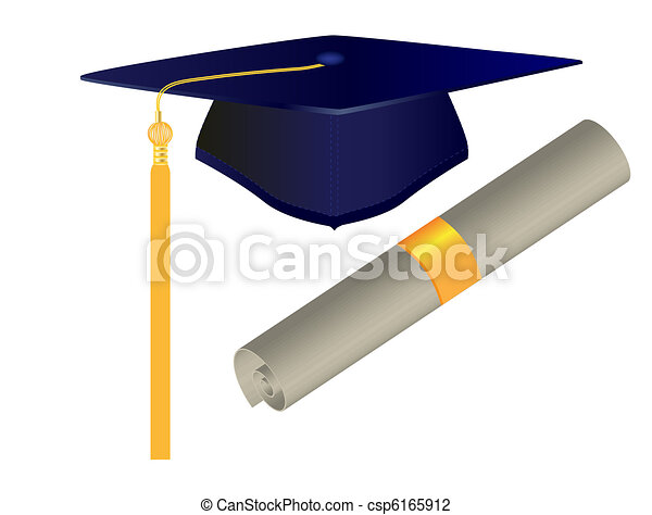Graduation Cap and Diploma - csp6165912