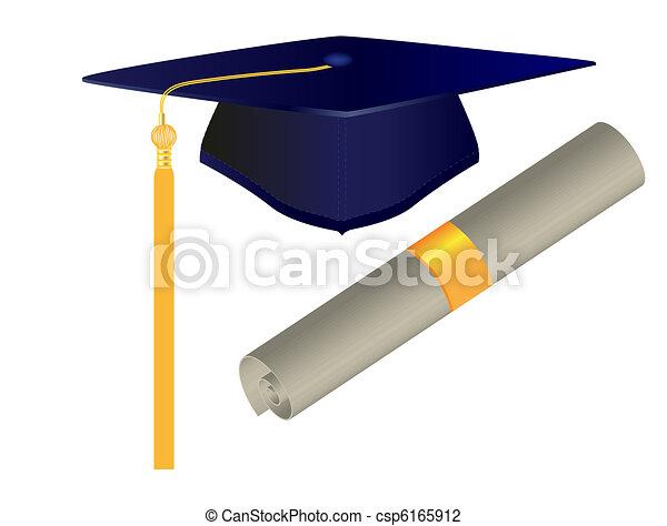 Graduation Cap and Diploma - csp6165912