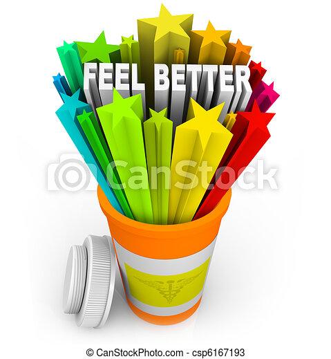 Feel Better - Prescription Medicine Beats Sickness - csp6167193