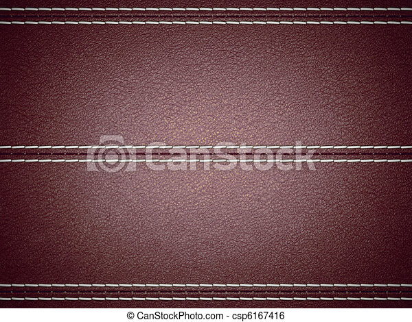 Maroon horizontal stitched leather background - csp6167416