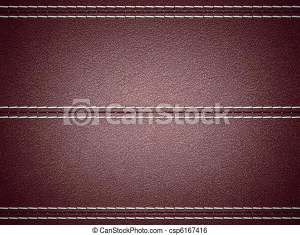Maroon horizontal stitched leather background - csp6167416