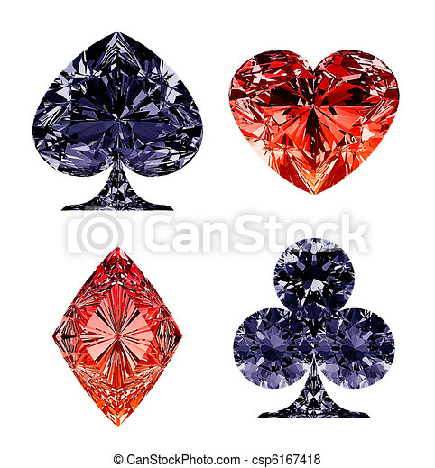 Red and dark blue diamond shaped card suits - csp6167418