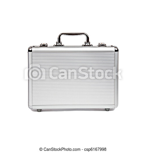 metallic suitcase isolated on white - csp6167998