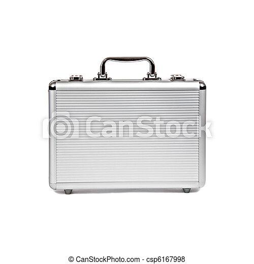 metallic suitcase isolated on white - csp6167998