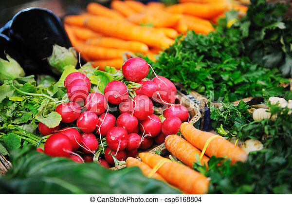 fresh organic vegetables food on market - csp6168804